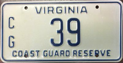 1980's Virginia Coast Guard Reserve License Plate - TWO DIGITS!!