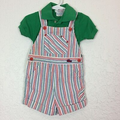 Vintage Lacoste baby 24m shirt and overalls set Preppy Toddler Flaws