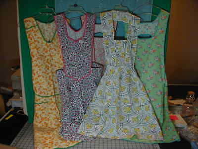 Vintage Lot of 5 Full Aprons Feed Sack? H Back Ric Rac