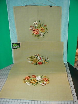 Vintage Floral Pre worked Needlepoint Canvas Lot of 3 Bucilla