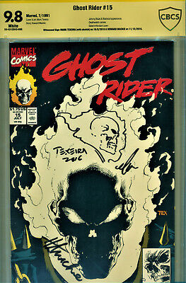 Ghost Rider #15 Cbcs 9.8 2X Signed By Howard Mackie & Signed/sketch-Mark Texeira
