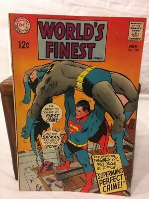 WORLDS FINEST COMICS NO. 180 NOV. 1968 SUPERMAN BATMAN NEAL ADAMS COVER Fine +