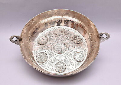 Antique Solid Silver Bowl Decorated With Coins