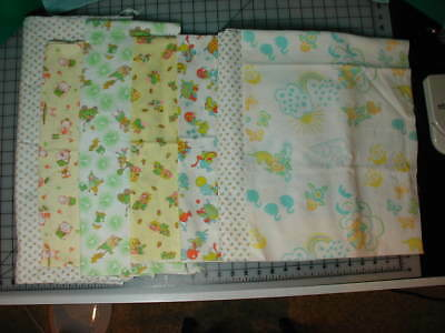 """Vintage Flannel Fabric Lot 36"""" Wide Over 7 Yards Total"""