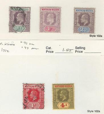 Northern Nigeria, Postage Stamp, #10, 11, 13, 41, 44 Used & Mint Hinged, JFZ