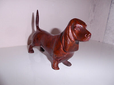 """Vintage Cold Painted Bronze Basset Hound 6"""" Long Lovely"""