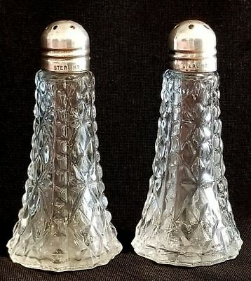 Antique Small Glass Salt/ Pepper Shakers with Sterling Silver 925 Caps Art Deco