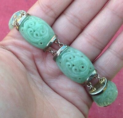 Vintage Sterling Silver Chinese Bracelet with Natural Pierced Carved Jade