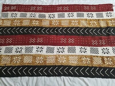 """Authentic African Handwoven Bambara Mud Cloth From Mali Size 63"""" x 40"""""""