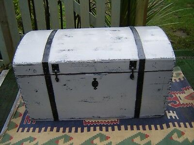 Victorian pine painted domed chest