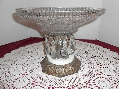 Vtg Crystal Glass Compote Centerpiece W/ Hanging crystals Marble Metal Base