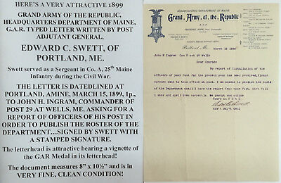 GAR DEPARTMENT 25th MAINE INFANTRY LETTER SIGNED GRAND ARMY REPUBLIC PORTLAND ME