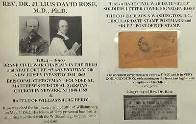 CIVIL WAR HERO CHAPLAIN 7th NEW JERSEY INFANTRY CLERGYMAN SIGNED SOLDIERS COVER!