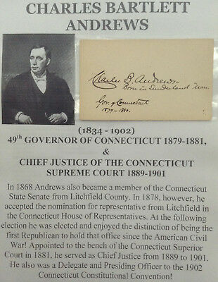 49th GOVERNOR CONNECTICUT CHIEF JUSTICE SUPREME COURT AUTOGRAPH SIGNED CARD 1880