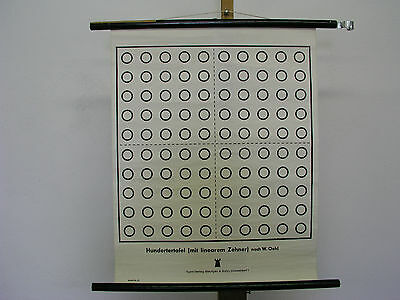 Beautiful Old Schulwandkarte Hundertertafel Numeracy Counting 47x59c Vintage