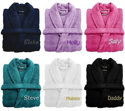 PERSONALISED Mens Gents Super Soft Dressing Gown Robe Bathrobe - Gift Present