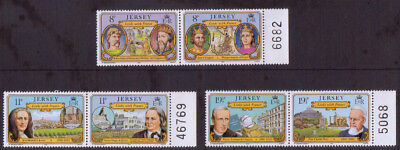 1982 Jersey Links with France u/m mnh stamps x 6 with control numbers selvedge