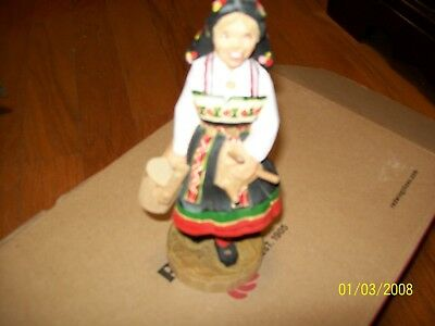 Vintage Henning wood carving,  Girl milk maid  7 in  Norway hand carved