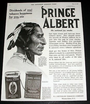 1916 Old Magazine Print Ad, Prince Albert Tobacco & Real Happiness, Indian Art!
