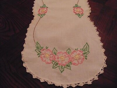 darling pink flowered hand embroidered and hand crocheted runner