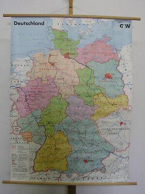 Beautiful Good Schulwandkarte Germany Vintage Wall Map 99x135cm ~ 1990