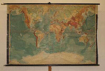 Schulwandkarte Physical World Map Earth Perthes Germany 213x139m ~ 1914