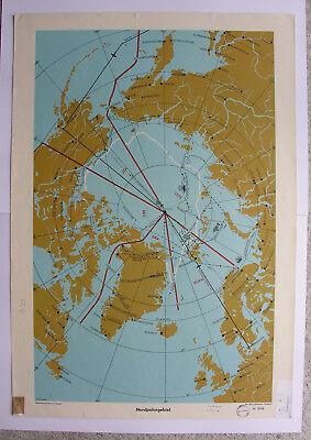 Schulwandkarte Nordpolargebiet North Pole 64x92 Peary Vintage Wall Map ~ 1957