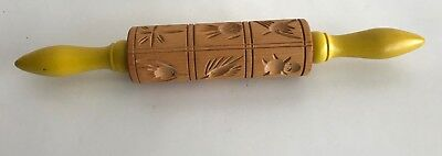 Vintage SPRINGERLE ROLLING PIN Carved WOOD 12 Designs Yellow Handles Cookie Mold