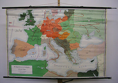 Beautiful Old Schulwandkarte Imperialismuns Greater Germany War 140x96 ~ 1955