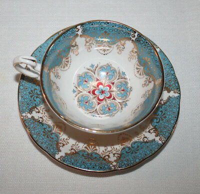 Vtg. Paragon Teacup Saucer Set By Appt Her Majesty The Queen  Blue Red & Gold