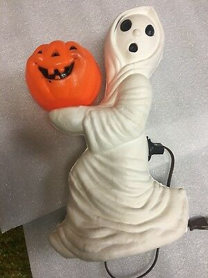 Vintage Halloween Ghost And Pumpkin Light Up Decoration Statue General Foam Corp
