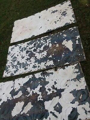 """3 Old Antique Metal tin ceiling tile  48""""x24"""" FULL SHEETS Shabby vintage salvage"""