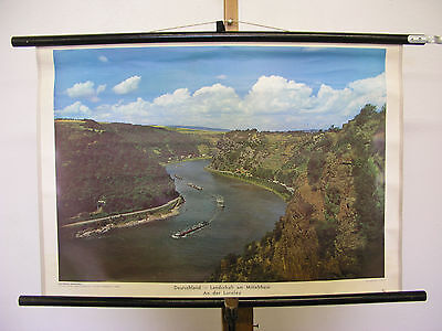 Wall Map Landscape Middle Rhine Loreley Picture 75x51 Vintage Chart ~ 1960