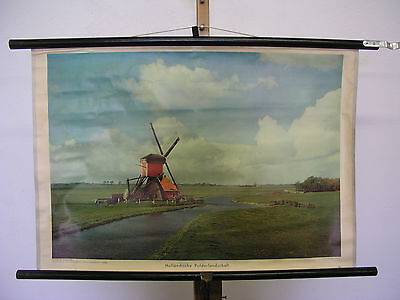 Wall Map Wall Picture Dutch Polderlandschaft 75x51 Vintage Wall Chart ~ 1959