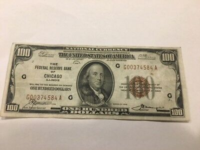 1929 $100 National Currency Bank Of Chicago Federal Reserve Note