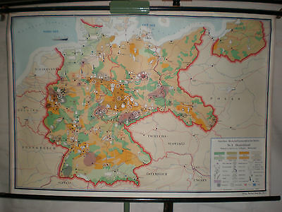 Schulwandkarte Wall Map Map Germany Economy Coal Forest~1955 140x96cm