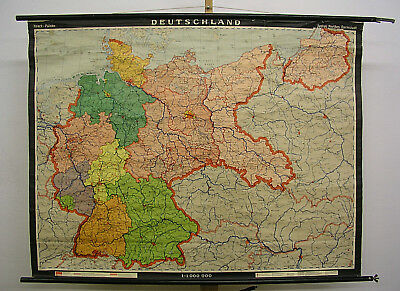 Wall Map Germany Countries W GDR Ostgebiete Prussia 1964 128x98 Vintage