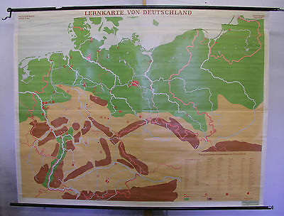 Wall Map Germany W GDR East 1963 Berlin 208x161 Vintage Decoration for Dart