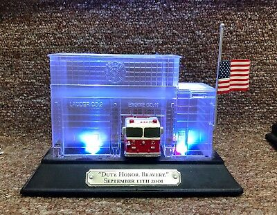 Hawthorne Village Duty Honor Bravery Lighted Fire Station Figurine 9/11 Tribute