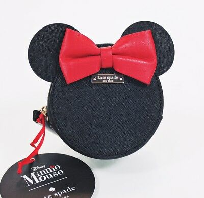 Kate Spade Disney MINNIE MOUSE Red Bow Coin Purse 12K Gold Accents NEW