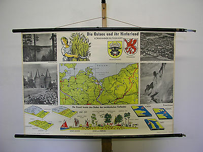 Schulwandkarte Wall Map Baltic Sea Pomerania Mecklenburg Kornkammer 99x67cm ~