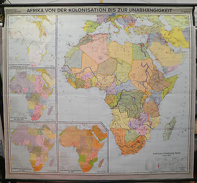 Schulwandkarte Wall Map School Map Map Africa from Colonies to 1967 208x188cm