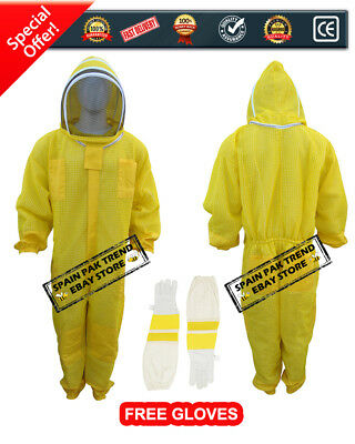 Ultra Ventilated Beekeeping Suit 3 Layer Mesh Fencing veil (Gloves Free)