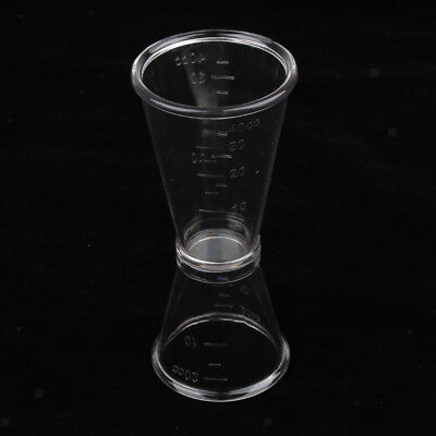 Clear Plastic Cocktail Double Jiggers Wine Shot Glasses Drink Measuring Cup