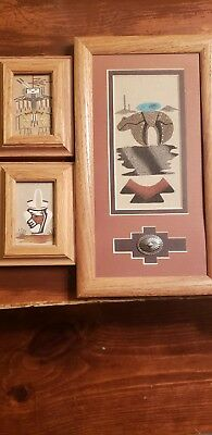 Native American Sand Art Navajo Painting Handcrafted Wall Hangings 3 Pc Lot