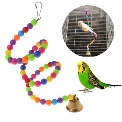 Birds Parrot Toys Spiral Swing Stand Holder Creative Bell Colorful Beads Ladder