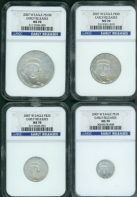 2007-W Burnished Platinum 4-Coin Set $100 $50 $25 $10 Ngc Ms70 Early Releases Er