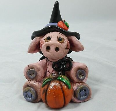 Witch Pig Halloween Figurine Piggie Farm Collectible OOAK Autumn Figurine Fall