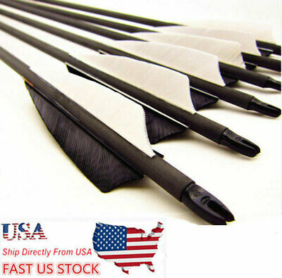 """6/12/24/48PCS 32"""" Carbon Archery Arrows SPF500 For Recurve Bow w/Real Feathers"""