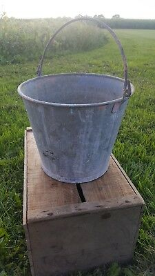 Vintage Galvanized Steel Pail large Rustic chore Bucket Farm Country planter